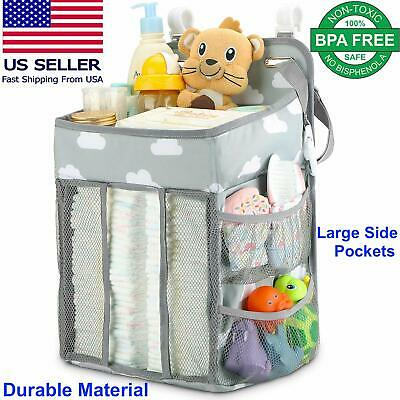 Nursery Organizer Hanging Diaper Caddy Diaper Stacker for Changing Table Crib