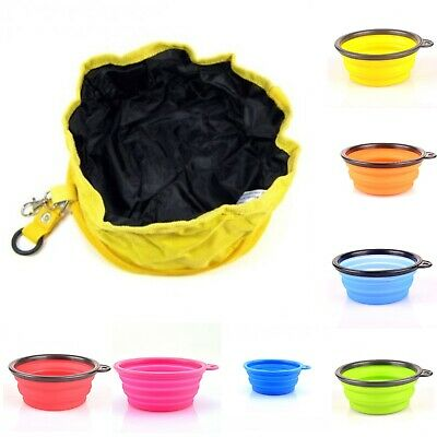 Water Bowl Portable Folding Collapsible Travel Food Dishes For Pets Dogs Cats