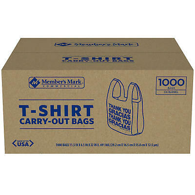 Members Mark T-Shirt Carry-Out Bags 1000 ct- Color-White