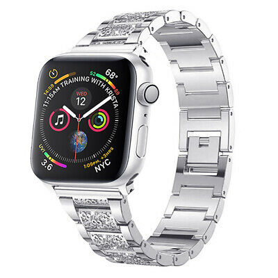 For Apple Watch Series 654321 SE 38mm 40mm Stainless Steel Band Bling Strap