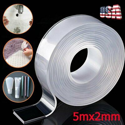 16ft Washable Tape Double-Sided Reusable Traceless Invisible Adhesive PU Gel