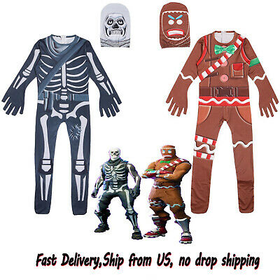 HALLOWEEN KIDS COSTUME GINGERBREAD Man Skull Trooper Jumpsuits Fortnite COSPLAY