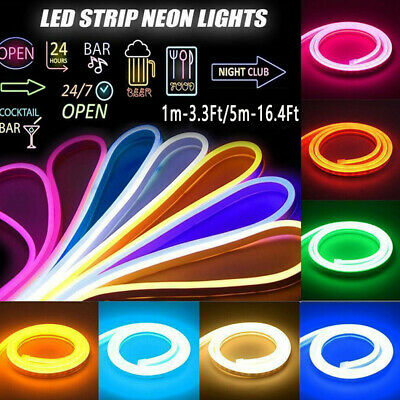 3-3-16-4Ft 12V Flexible LED Strip Waterproof Sign Neon Lights Silicone Tube Lamp