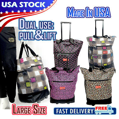 19 Rolling Wheeled Duffle Bag Trolley Bag Tote Carry On Luggage Travel Suitcase