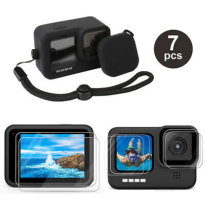 Accessories Kit for GoPro Hero 9 Black Silicone Protective Case-Screen Lens Film