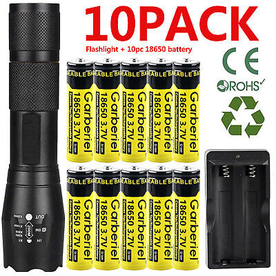 Zoom T6 LED Flashlight - Li-ion Battery Rechargeable Batteries -US Dual Charger