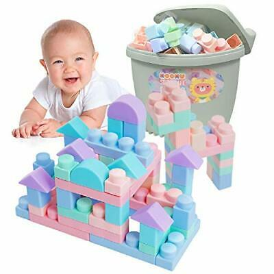 Soft Building Blocks Set for Toddlers Baby Ages 6 Month Old and 120 Pc - Blue