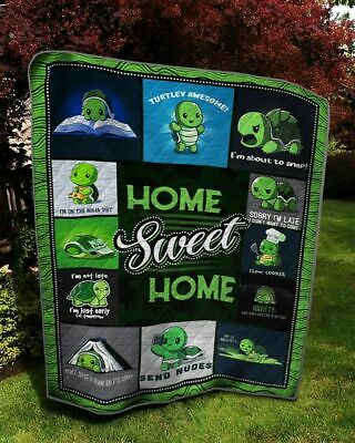 BEST FATHERS DAY GIFTS - HOME SWEET HOME LAZY TURTLE LOVERS fleece BLANKET