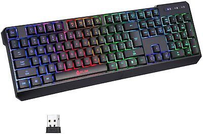 KLIM Chroma Rechargeable Wireless RGB Gaming Keyboard for PC PS4 Xbox One Mac