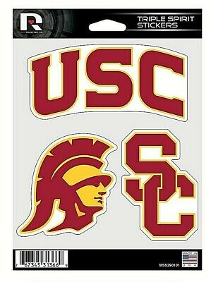 USC Trojans NCAA Triple Spirit Stickers  Decals  3 Pack Free Shipping