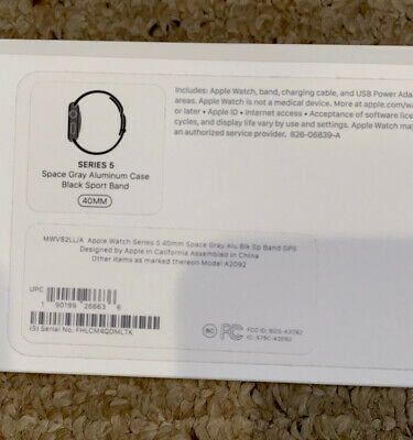 EMPTY BOX ONLY for Apple Watch Series 5 40mm Space Gray Aluminum Case Complete