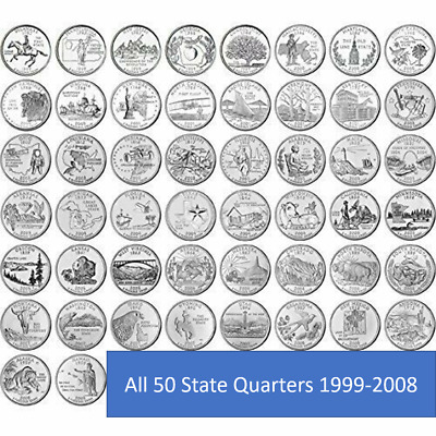 1999-2008 US State Quarters Complete Circulated Collectible Set of 50 coins