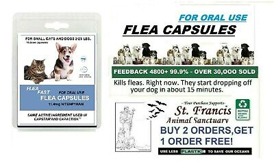 15 MIN- FAST WORKING SMALL CAPSULES FLEA Killer control dogs cats 16 doses