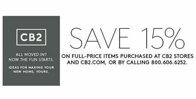CB2-COM 15 OFF ENTIRE PURCHASE-1COUPON INSTOREONLINE - INCL FURNITURE