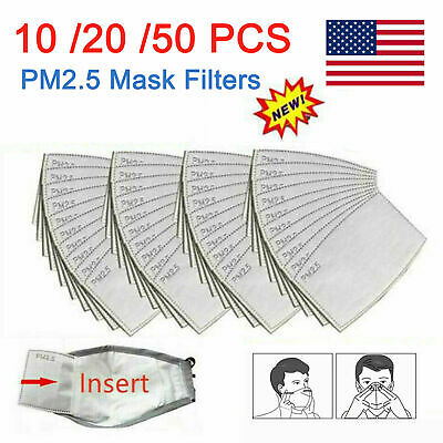 10-50PCS PM2-5 Activated Carbon Filter 5 Layer Replacement For Breathing Cover