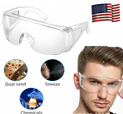 Safety Clear Goggles Over Glasses Lab Work Eye Protective Eyewear - 1 Pcs