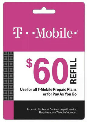 T-Mobile 60 Prepaid Refill Card Air Time Top-UpPin SAME DAY DIRECT REFILL