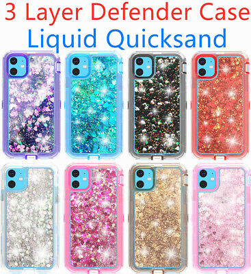 Glitter Cute Shockproof Clear Hard Case cover for iPhone 11 12 12 Pro Max XR 8-
