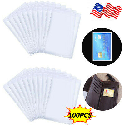 100PCS Transparent Vertical ID Credit Card Holder Business Card Protector Covers