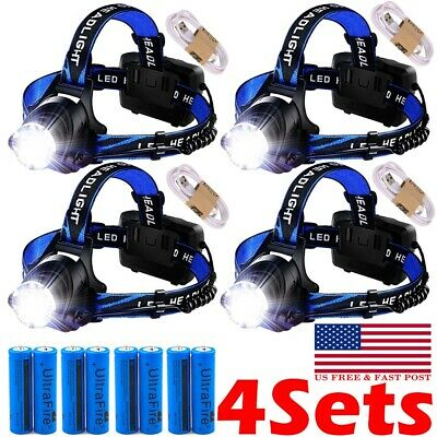 USB Rechargeable 990000LM Headlight LED Headlamp Tactical Head Torch Lamp Lights