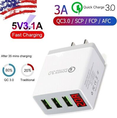 3 Port USB Wall Fast Quick Charger QC 3-0 for Cell Phone iPhone Samsung Android