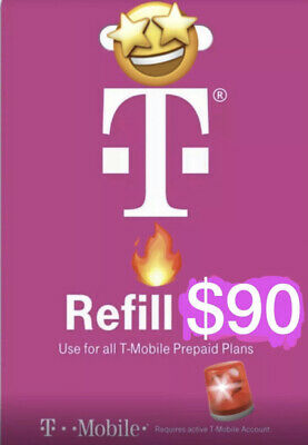 T-Mobile 90 Prepaid Refill Card Air Time Top-UpPin SAME DAY DIRECT REFILL