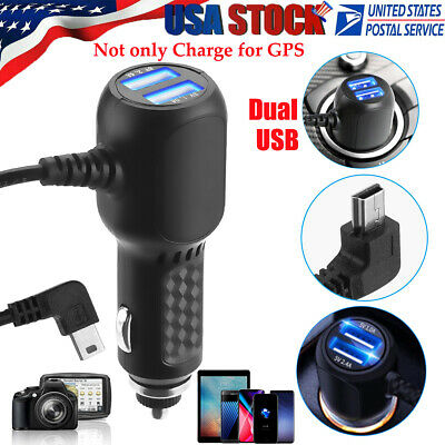 For Garmin GPS Dual USB Port Charge Power Car Cable Auto Port Cord Wire Charging