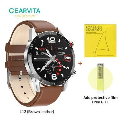 2021 New Smart Watch Bluetooth Leather ECG Heart Rate Monitor for Android iOS