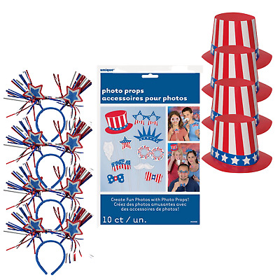 18 Piece Patriotic Fourth of July Hats Headbands Photo Props Independence Day