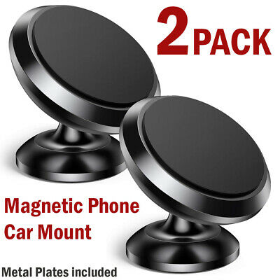 2PC Universal Magnetic Car Mount Cell Phone Holder Stand For iPhone Samsung GPS