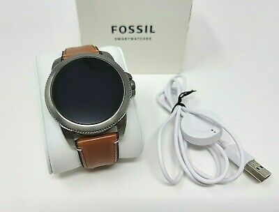 Fossil FTW4055 Gen 5E 44mm Stainless Steel Case with Brown Leather Strap