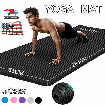Yoga Mat 10mm Thick Gym Exercise Fitness Pilates Workout Mat Non Slip Large NBR