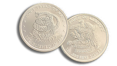 New 1 oz -999 AG Fine Silver Round - Dont Tread On Me Stamped - IN STOCK