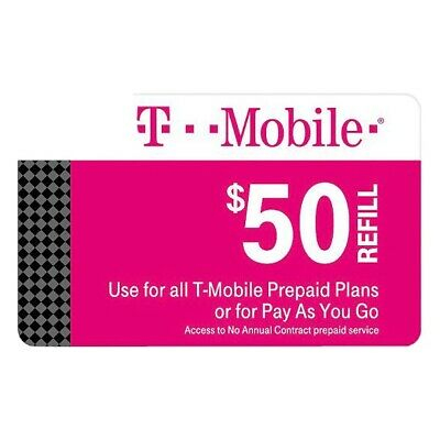 T-Mobile 50 Prepaid Refill Card Monthly Plan'sSAME DAY DIRECT REFILL