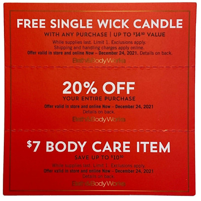 Bath - Body Works 4 Coupons - Single Wick Candle x2 20 Off 7 Fragrance Mist