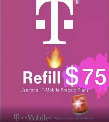 T-Mobile 75 Prepaid Refill Card Air Time Top-UpPin SAME DAY DIRECT REFILL
