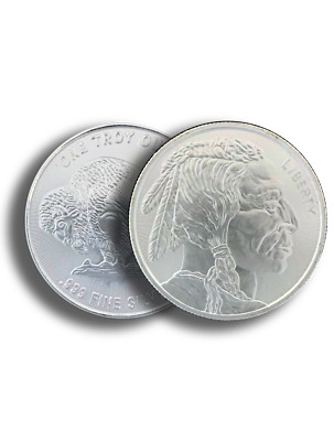 1 oz -999 Fine AG Silver Round - Buffalo Indian Stamped - IN STOCK