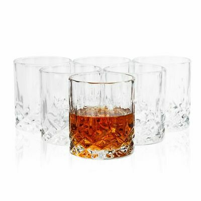 6Pc Whiskey Glasses Crystal Lowball Cups for Scotch Bourbon Cocktails 11oz