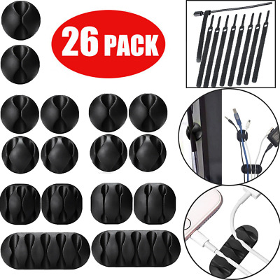 26 PCS Cable Reel Organizer Charger Desktop Wire Clamp Power Cord Management USA