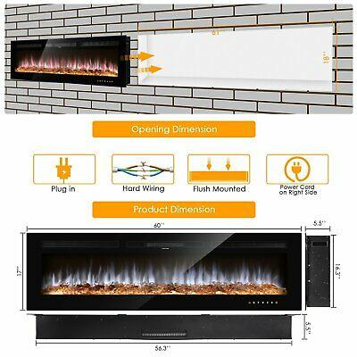 365060 Electric Fireplace Wall Mounted Heater Multi Flame wRemote Modern US