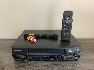 Panasonic VCR With Remote VHS Player - Tested Works - Missing Front Plate Cover