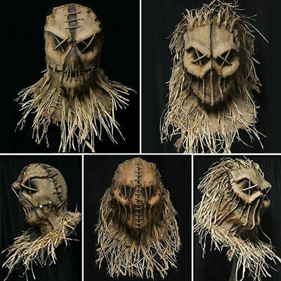 Halloween Scarecrow Scary Mask Full Head Face Cover Party Cosplay Costume Props