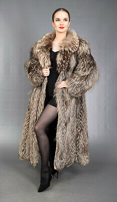 672 GORGEOUS REAL SILVER FOX COAT LUXURY FUR VERY LONG BEAUTIFUL LOOK SIZE L