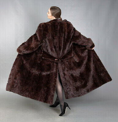 673 GORGEOUS REAL MINK COAT LUXURY FUR EXTRA LONG BEAUTIFUL LOOK SIZE 2XL