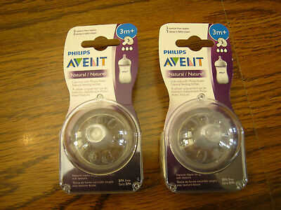2  Two-Pack Philips Avent Natural Nipples Medium Flow 3M- SEALED  4 Total