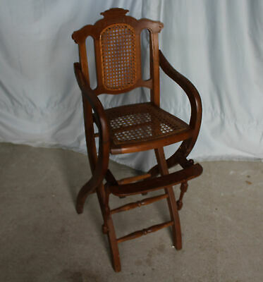 Antique Victorian Walnut Youth Chair High Chair - Chair Folds Up for Easy Storag