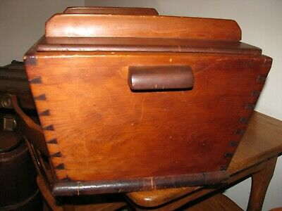 ANTIQUE  Pa- WOODEN DOVETAILED DOUGH BOX - LID with Sq- Nails