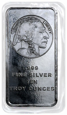 10 Troy oz -999 Fine Silver Bar American Indian - Buffalo Design SKU28953