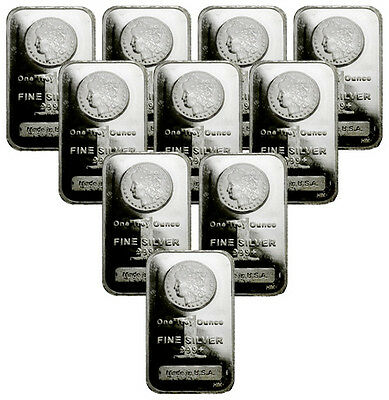 Lot of 10 - Morgan Dollar Design Bar 1 Oz -999 Silver Bars SKU29388