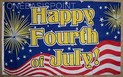 3x5 Happy 4th of July Fireworks Flag Celebration USA Party Fourth Banner 3X5